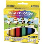 COLA COLORIDA ACRILEX COM 6 CORES