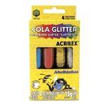 COLA COLORIDA ACRILEX C/GLITTER C/4 CORES